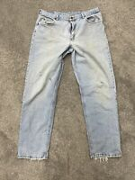 Riders Vtg Mens Blue Jeans Straight Classic Faded Distressed Size 38x34