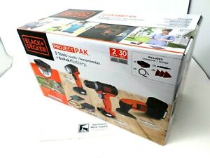 Black & Decker GoPak Cordless 3 Tool Kit Drill, LED Light and Sander Kit 12V