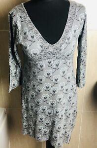 WHITE STUFF UK 12 Grey Floral Dress Cotton Linen Mix