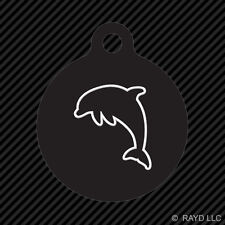 Dolphin Keychain Round with Tab dog engraved many colors marine mammal ocean