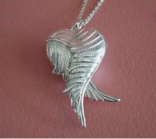925 Sterling Silver Love Heart 3D Locket Angel Wings Pendant Necklace NEW
