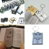Religious Mini Small Holy Bible Book Keychain Jesus Cross Keyrings Micro Pendan