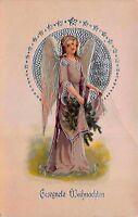 Christmas Postcard Angel Purple Robe and Silver Halo~118083