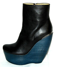 LANVIN $1,578 NIB Black Lambskin CRAZY Wedge Ankle Boots 38
