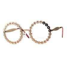 Womens Clear Lens Glasses Round Frame Flower Floral Design Rose Gold