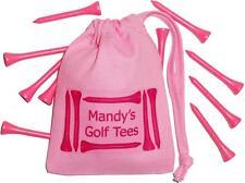 PINK - PERSONALISED - Golf Tees Bag & 10 Pink Golf Tees - Golfing / Golfer Gift