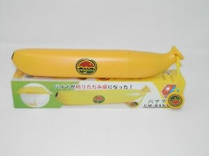 Um-Banana Novelty Banana Umbrella - Yellow Fruit Shaped Storage Plastic NEW