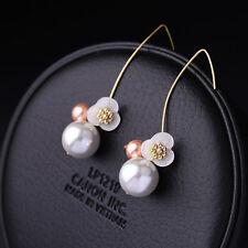 E974 Betsey Johnson Downton Abbey Shell Flower Drop Pearl Wire Earrings UK