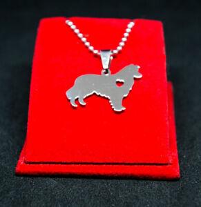 Halskette mit Anhänger. Schmuck Hund - Border Collie mit Herz.  Edelstahl Silber