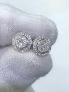 14k White Gold & Diamonds G/VS1 Pave Round Double Halo Stud Earrings 0.72ct tw