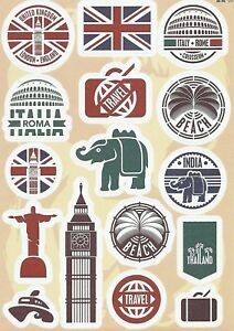 """Sticker Decal Sticker Set """" Travel-Mix 1 - Suitcase, Laptop, Stickerbomb"""