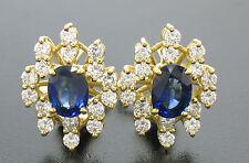 18ct Oro Certificado EGL azul cobalto ZAFIRO Y VVS E Diamante Omega Pendientes