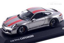 1:43 MINICHAMPS 2016 PORSCHE 911 991 R Silver Black car.tima CUSTOMIZED LE 11 pc