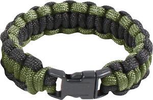 Olive Drab & Black 550LB Survival Paracord Bracelet with Buckle