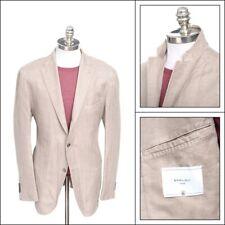 $895 NWT BOGLIOLI Camel Herringbone Cotton Linen 3/2 Roll Blazer Jacket 60 50