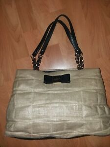 KATE SPADE NEW YORK Veranda Place Quilted Straw W/Black Bow Maryanne Bag