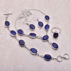 Blue Sapphire Gemstone Ethnic Handmade Christmas Gift Jewelry Sets L-871