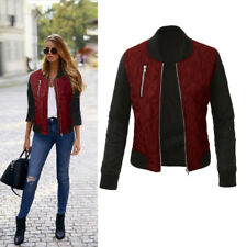 UK Ladies Women Bomber Jacket Classic Zip Up Biker Vintage Jacket 8-22 Plus Size