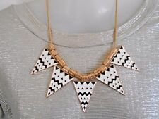 Black, White and Gold Enamel Statement Necklace