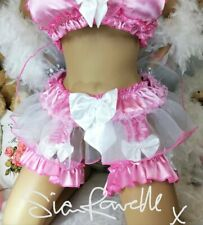Sian Ravelle LUXURY PINK SATIN ORGANZA SISSY MAID SEXY FRILLY TUTU SUSPENDERS