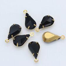 30p 13x8mm color Drop Framed glass Pendant dangle Bead Connectors Earrings Dress