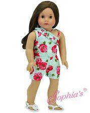 """Aqua Floral One Shoulder Romper Outfit Shorts Tank 18"""" American Girl Doll"""