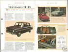 Renault 8 /Dauphine / R8 Berline 4 Cyl. Sport France Car Auto FICHE FRANCE