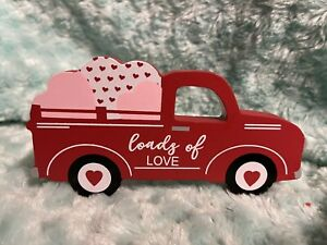 "New ""loads of love"" Wood RED Truck Sign Farmhouse VALENTINE Hearts Tier Tray"