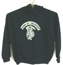 Sons of Anarchy Mens Size XL Hoodie Cream on Black Embroider Kangaroo Pockets sh