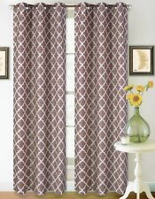 2 GROMMET PANELS PRINTED BLACKOUT DRAPE WINDOW CURTAIN BROWN WHITE K22 IN 84""