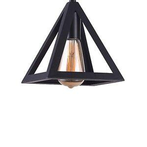 "7"" Industrial Metal Geometric Mini Pendant Lighting Ceiling Light 1-Bulb Black"
