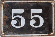 Large old black French house number 55 door gate plate plaque enamel metal sign