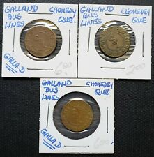 Lot of 3x Chomedey Quebec Galland Bus Lines Transit Tokens