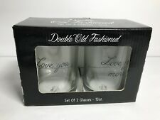 TMD Holdings Double Old Fashioned Glasses ~ Valentines Day Gift!