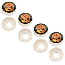 4 Chrome Custom License Plate Frame Screw Snap Caps Covers Flame Skull RFWB