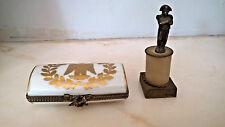 ANTIQUE FRENCH NAPOLEONIC LIMOGES PORCELAIN TRINKET BOX & NAPOLEON COLUMN