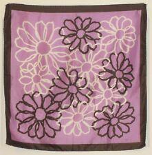 "TERRIART Lavender, Brown, White Doodles 26"" Square Scarf-Vintage"