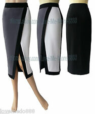 Women Colorblock Wear To Work Celebrity Wiggle Pencil High Split Skirt Dress (S)