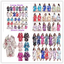 Women's Kimono Robe Plain Silk Satin Robes Bridal Wedding Bridesmaid Bride Gown