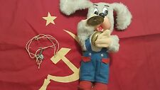 VINTAGE DOG WITH CYMBALS TOY ORIGINAL KEY RUSSIA USSR CCCP WIND UP WORKS GREAT