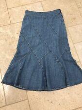 LAURA ASHLEY UK 14 Denim Maxi Skirt Patchwork Side Zip Casual Winter