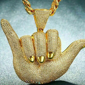14k Yellow Gold Over Sim Diamond Men Hand Hip Hop Ice Out Gift For Her Pendant