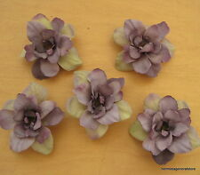 "5 Piece Lot 2.5"" Violet Beige Apple Blossoms Flower Hair Clips,Wedding,Prom"
