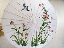 JAPANESE WHITE PAPER PARASOL CHINESE PINK LOTUS FLOWER BIRD WEDDING DANCE PARTY