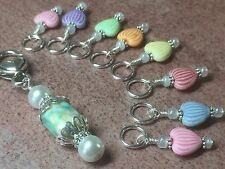 Pastel Hearts Stitch Markers for Knitting (SNAG FREE) With Beaded Clip Holder