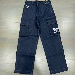 Karl Kani Blue Dark Wash Cargo Carpenter Denim Jeans Men's Size Large New