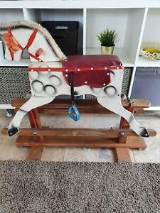 Vintage Antique Wooden Rocking Horse Ideal For Restoration Project