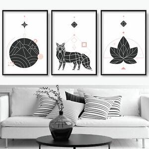SET of 3 Pink Black GEOMETRIC FOX Mountain Scandi Wall Art Prints ONLY