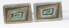 VTG MEXICAN STERLING SILVER LOS CASTILLO ONIX NEGRO TURQUOISE CUFFLINKS