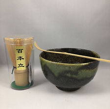Japanese AMANOGAWA Tea Ceremony Matcha Bowl Scoop 100 Count Whisk Gift Set